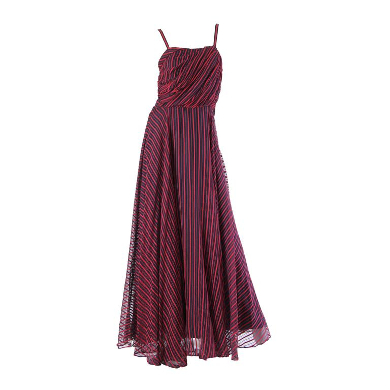 1940s Uniquely Draped Sheer Gown  For Sale