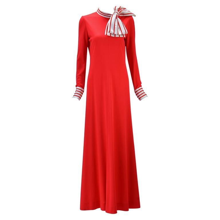 1970s Malcolm Star Red Knit Maxi Dress  1