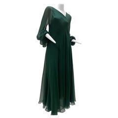 1970s Halston Forest Green Silk Chiffon Layered Bias Cut Asymmetrical Maxi Dress