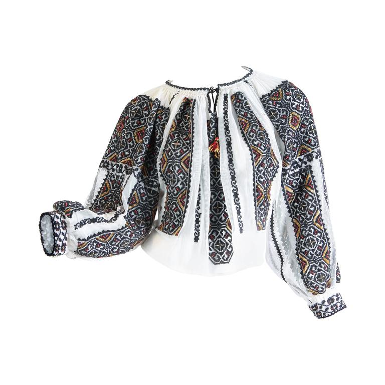 Hand embroidered and beaded bohemian blouse at stdibs