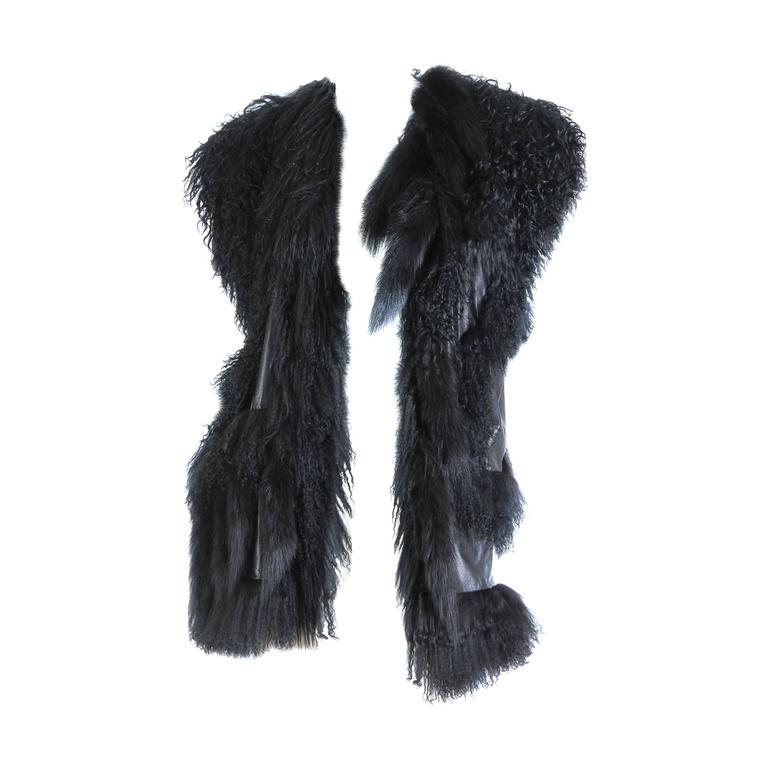 Avant Guard Lamb Fur and Leather Vest For Sale