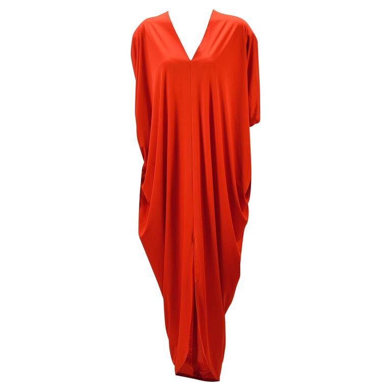 1970s Adele Simpson Red Knit Kaftan  For Sale