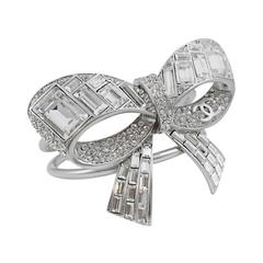 New Chanel 2008 Spring Silver Tone Strass Crystal Bow Cuff