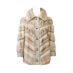 Beige Mink and Leather Jacket