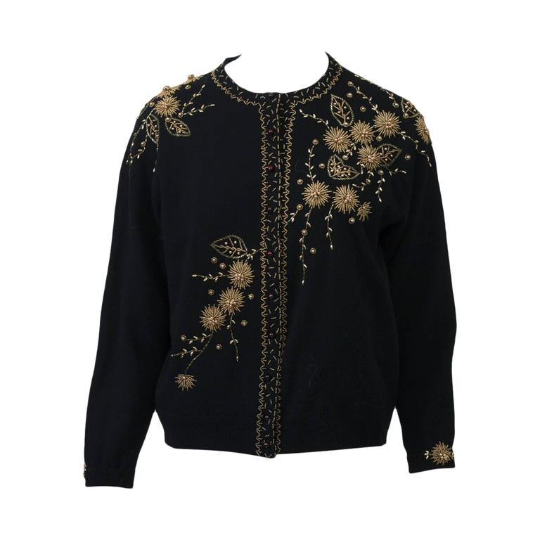 Black Cardigan with Gold Beading 1