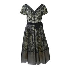 Black Lace 1960s Dress