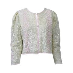 Iridescent and Pink Beaded Cardigan