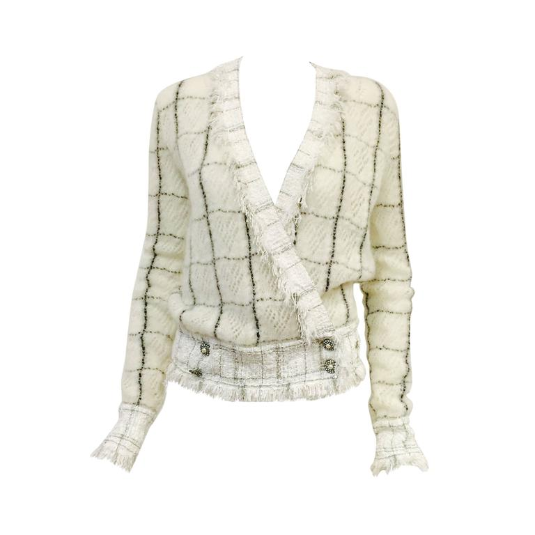 Chanel Mohair Blend Window Pane Check Cardigan With Fringed Tweed Trim  For Sale