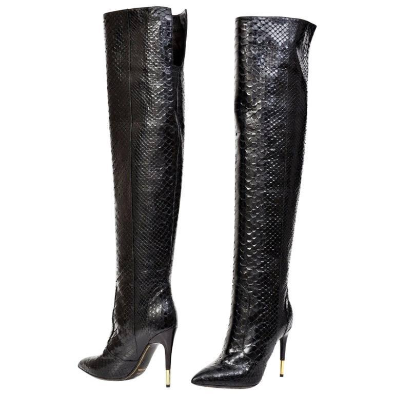 Tom Ford Black Anaconda Over the Knee Boots For Sale