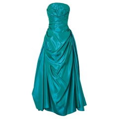 Long green and blue  taffetas cocktail dress Dance Originals by Fred Perlberq