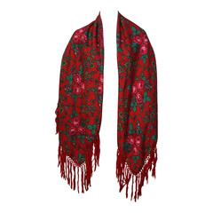 Vintage Red Russian Wool Challis Shawl with Fringe