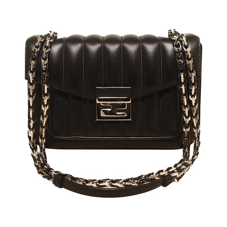ac731d569a Fendi Black Stripe Quilted Leather Classic Flap Shoulder Bag For Sale at  1stdibs