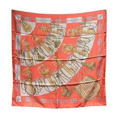 Hermes Vintage Orange Cliquetis Silk Scarf