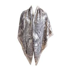 Hermes Jardin de Leila Naturel Anthracite Noir Cashmere Silk Shawl Grail