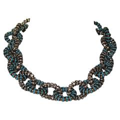 """Francoise Montague Turquoise Gold and Crystal """"Joyce"""" Link Necklace"""