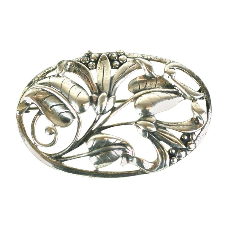 Danecraft Cast Sterling Silver Floral Brooch For Sale