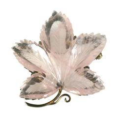 Charming Rose Quartz Leaf Brooch