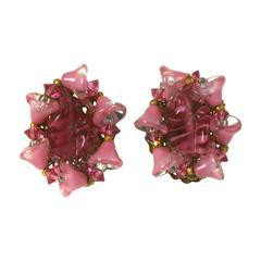 Miriam Haskell Pink Pate de Verre Earclips