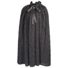 Yves Saint Laurent Haute Couture Black Lace and Satin Evening Cape
