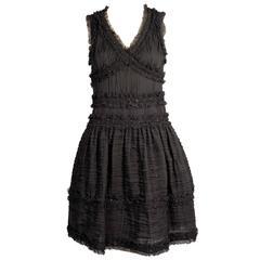 Chanel Pleated Silk Dress with Beadwork
