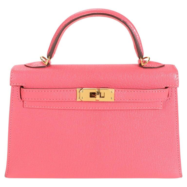 Hermès Rose Azalee Chévre Mini Kelly 20 II GHW For Sale