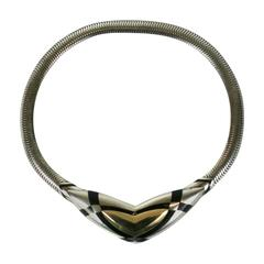Sterling and Enamel Art Deco Style Collar, Black, Starr and Frost