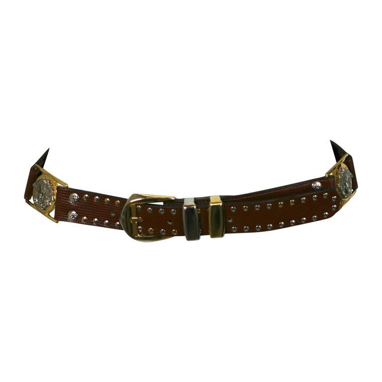 Gianni Versace Studded Medusa Mens Belt For Sale