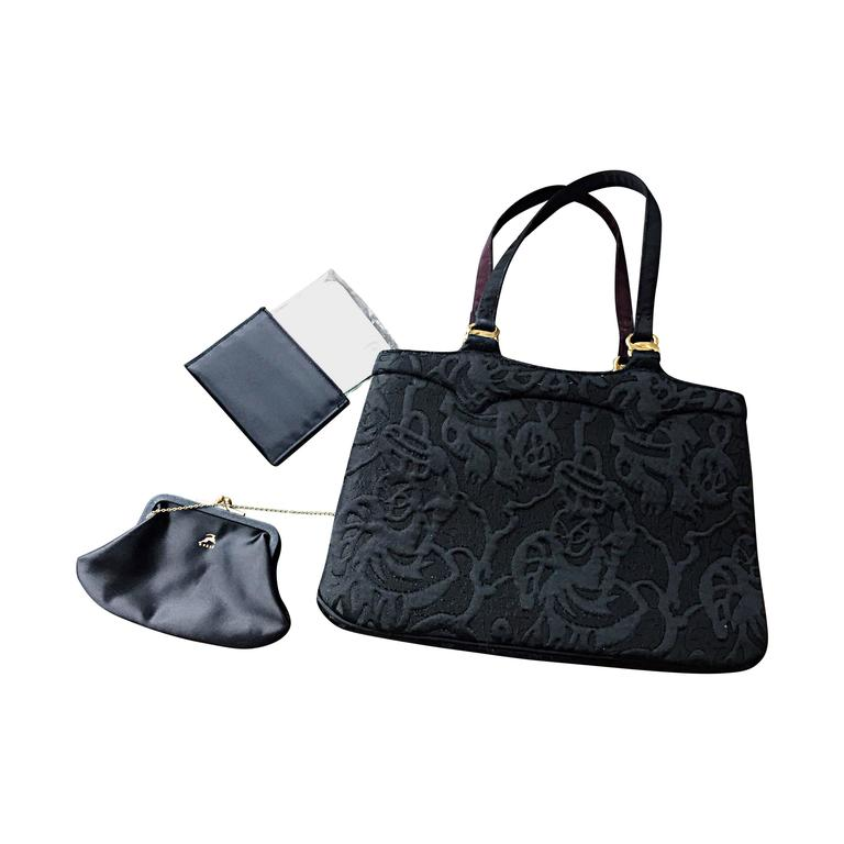 New 1950s Koret Vintage Black Embroidered Handbag Purse Bag W Pouch Mirror For