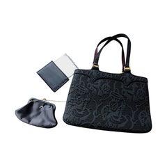 New 1950s Koret Vintage Black Embroidered Handbag Purse Bag w/ Pouch + Mirror
