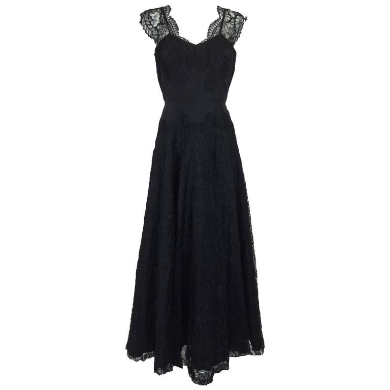 1950s Palm Beach Estate handmade black silk taffeta & lace evening gown  For Sale