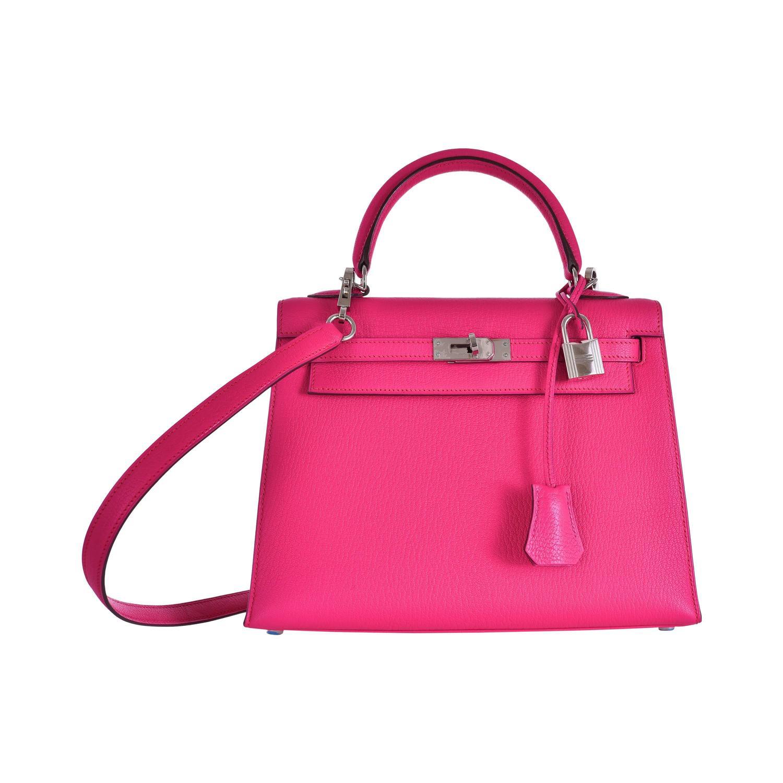 Hermes Kelly 25cm Bag Pink Fuschia Sallier Chevre Goat skin ...