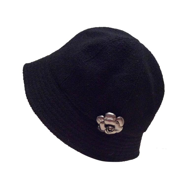 Chanel Black Boucle Hat with Silver Tone Camellia - Size 57 For Sale