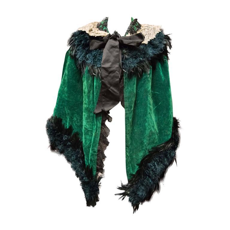 Green Velvet Victorian Cape For Sale