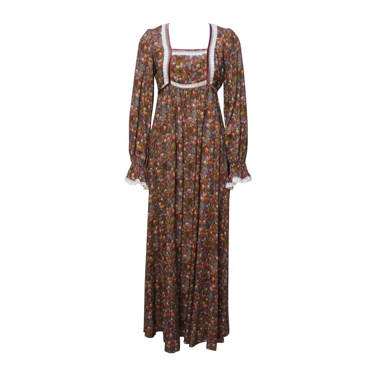 1970s John Charles Cotton Floral Folkloric Maxi Dress 1