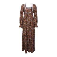 1970s John Charles Cotton Floral Folkloric Maxi Dress