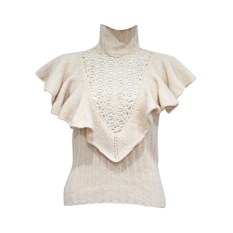 Catherine Malandrino crochet knit woollen vest, c. 2002