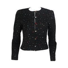 Black Suede Rhinestone Adorned Jacket Size Medium
