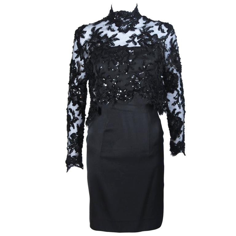 PATRICK KELLY Circa 1980's Black Sequin Lace Blouse and Cocktail Dress Size 4 1