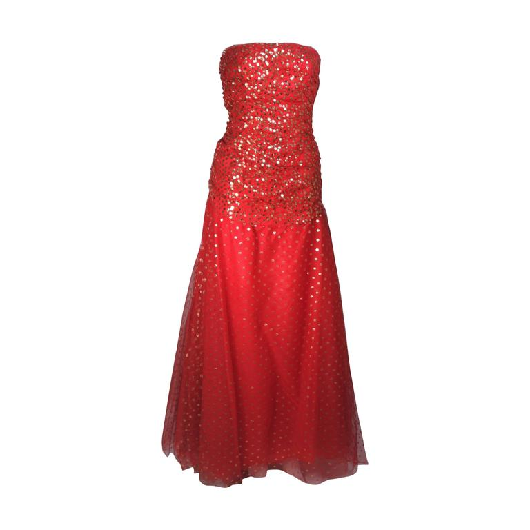 VICTOR COSTA Red Layered Mesh Gown with Gold Sequins Size 8 1