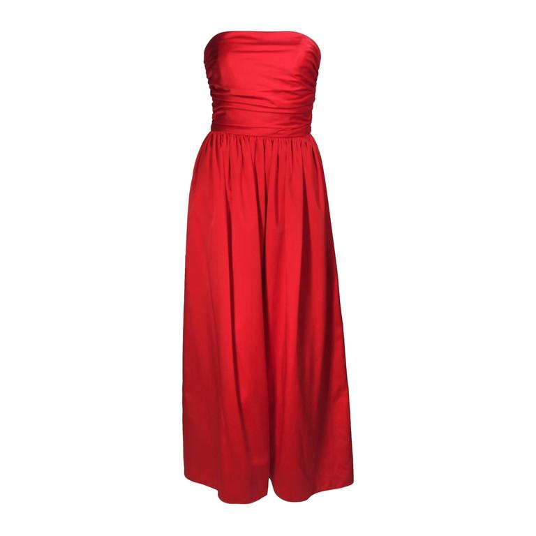ANTHONY MUTO Red Gown with Gathered Bodice and Waist Tie Size 4-6 For Sale