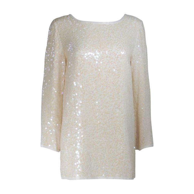 OLEG CASSINI Off White Silk Iridescent Sequin Embellished Tunic Size 6 For Sale