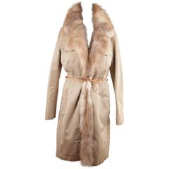 Ermanno Scervino Italian Beige Nylon Coat with Real Fox Fur Trim