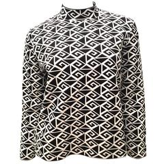 New Ralph Lauren Purple Label Geometric Black and White Sweater - Fabulous