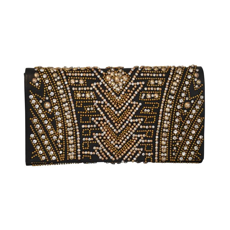 Rare Olivier Rousteing for Balmain Black Embroidered Leather Clutch 1