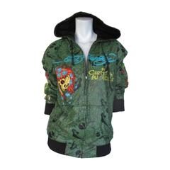 Christian Audigier for Ed Hardy hooded leather embossed jacket