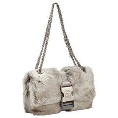 Chanel Vintage Grey Fur Sport Belt Lock Shoulder Bag