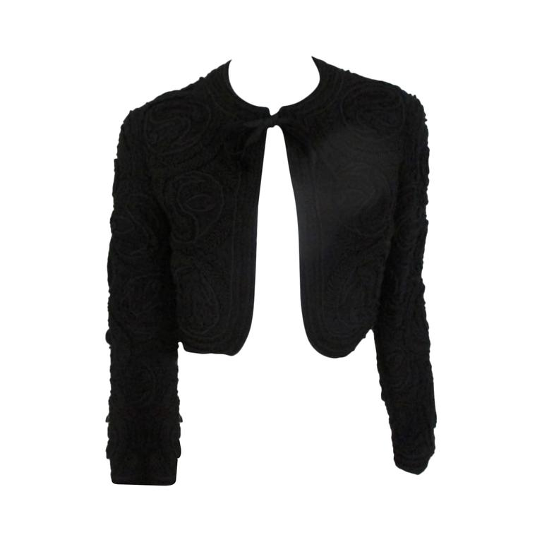 """Couture """"Busse"""" black embroidered beaded Bolero  For Sale"""