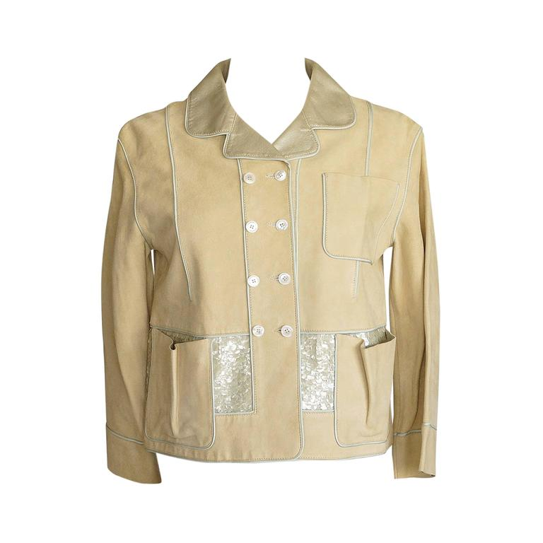 Louis Vuitton Jacket Adorned Suede Paillettes Gold Leather Collar Lining 34/4