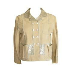 LOUIS VUITTON jacket adorned suede paillettes gold leather 34 / 4  do peek
