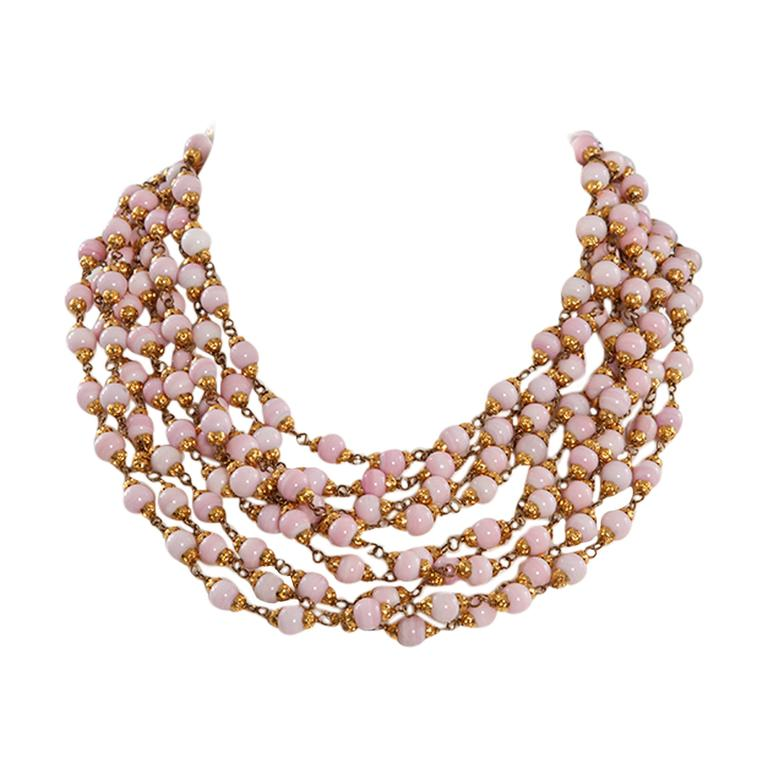 1993 Chanel Angel's Skin Coral Multi-Strand Necklace For Sale
